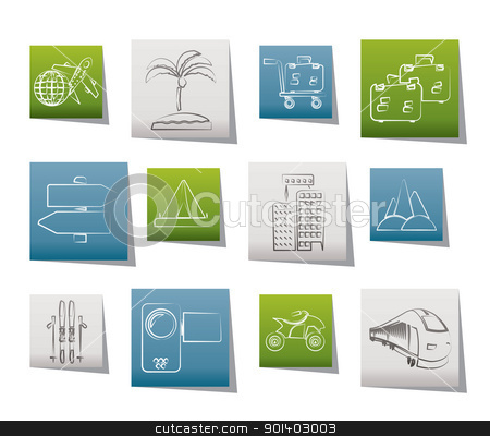 Holiday travel and transportation icons  stock vector clipart, Holiday travel and transportation icons - vector icon set by Stoyan Haytov