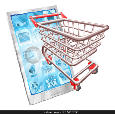 Shopping phone app concept stock vector clipart, Internet shopping phone concept illustration. Shopping cart flying out of phone screen. by Christos Georghiou