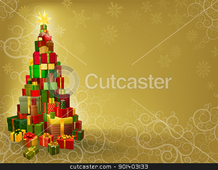 Christmas background with gifts tree stock vector clipart, Christmas background with gifts stacked in tree shape with star  by Christos Georghiou
