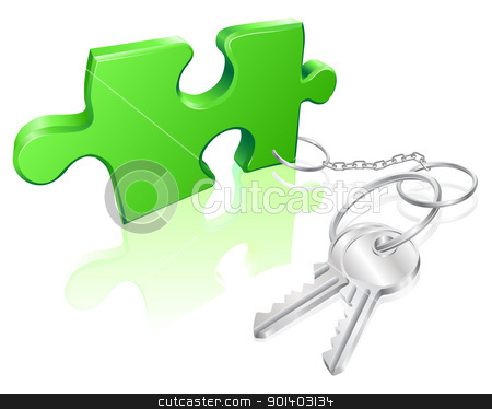 Key to the problem concept stock vector clipart, Key attached to jigsaw piece. Concept for solution to a problem by Christos Georghiou
