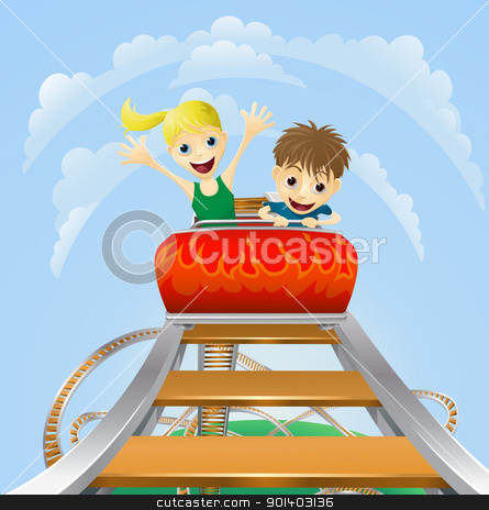 Thrilling roller coaster ride stock vector clipart, Illustration of a boy and girl enjoying a thrilling roller coaster ride by Christos Georghiou