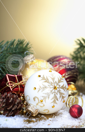 Christmas composition stock photo, Christmas composition with christmas balls by klenova