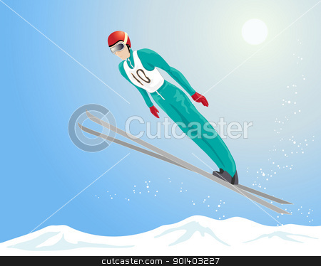 ski jumping stock vector clipart, an illustration of a ski jumper in the air with snowflakes and a blue sky background by Mike Smith