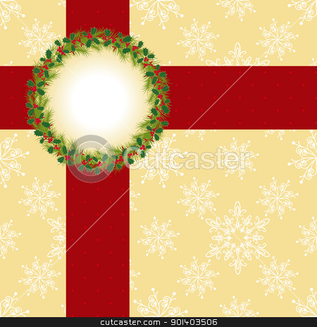 Christmas greeting card stock vector clipart, Christmas greeting card with Christmas wreath and ribbon on seamless pattern background by meikis