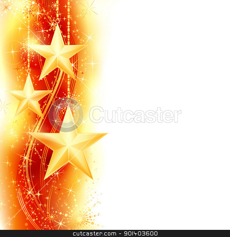 Red golden star border stock vector clipart, Border, frame with golden stars hanging over a red, golden wavy pattern embellished with stars and snow flakes. Bright, vivid and festive for the season to come with space for your message. EPS10 by Ina Wendrock