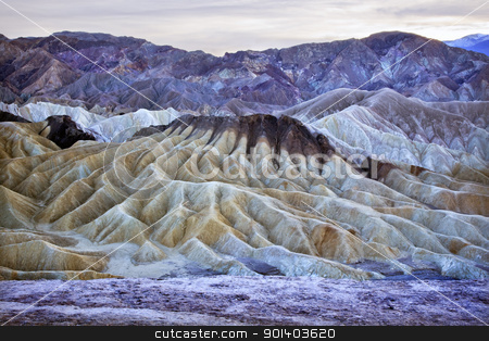 Zabruski Point Death Valley National Park California stock photo, Zabriski Point Mudstones form Badlands  Death Valley National Park California by William Perry