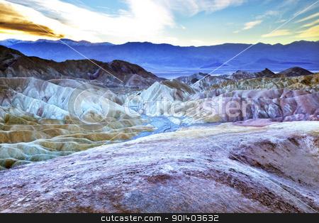 Zabruski Point Death Valley National Park California stock photo, Zabriski Point Mudstones form Badlands  Death Valley National Park California by William Perry
