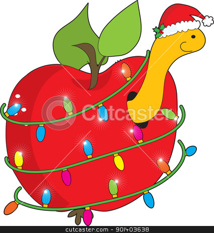 Christmas Apple Worm stock vector clipart, A cute, smiling apple worm wearing a Christmas hat, pokes his head out of an apple, wrapped round with Christmas lights. by Maria Bell