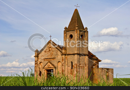 Ruins of an abandoned church stock photo, Ruins of an abandoned church in the field by marphotography