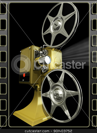 Projector film  on a black stock photo, Render of projector film  on a black background by Anadmist