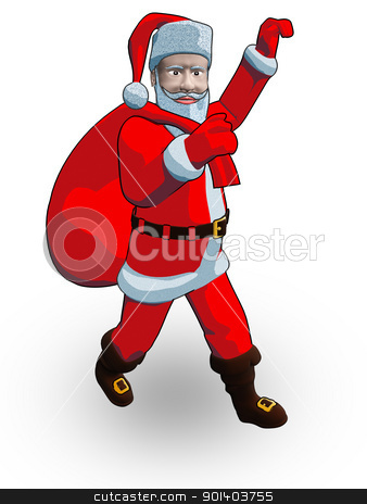 Santa walk stock photo, In 3d drawing santa which the bag with  bears on a shoulder by Anadmist