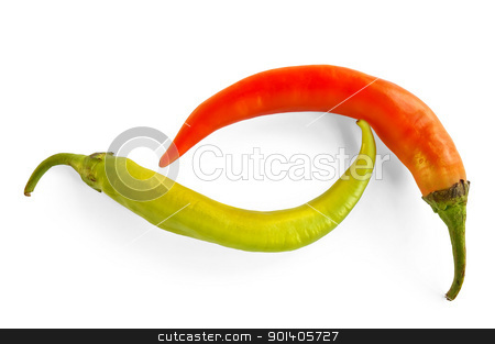 Green and orange hot pepper stock photo, Two sharp green pepper and orange isolated on a white background by rezkrr