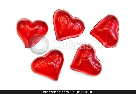 Hearts of marmalade stock photo, Red jelly in the form of hearts isolated on white background by rezkrr