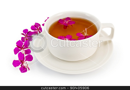 Herbal tea in a white cup with fireweed stock photo, Herbal tea in a white cup with fireweed, fireweed pink flowers on a table isolated on white background by rezkrr