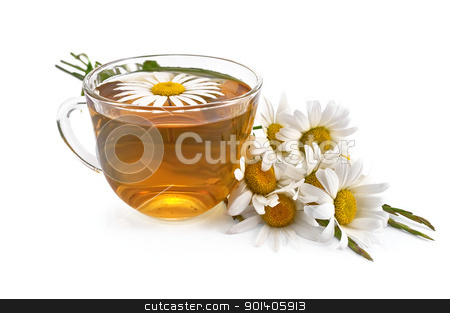 Herbal teas with a bouquet of daisies stock photo, Herbal tea in glass cup with chamomile, a bouquet of daisies and grass isolated on white background by rezkrr