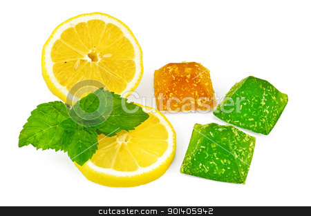 Jelly yellow and green with lemon and mint stock photo, Yellow and green jelly with lemon and mint isolated on white background by rezkrr