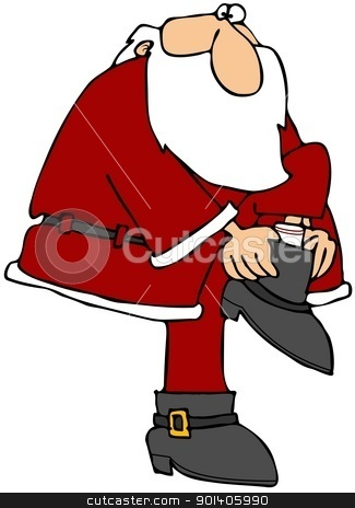 Santa Putting On His Boot stock photo, This illustration depicts Santa Claus pulling on his boot. by Dennis Cox