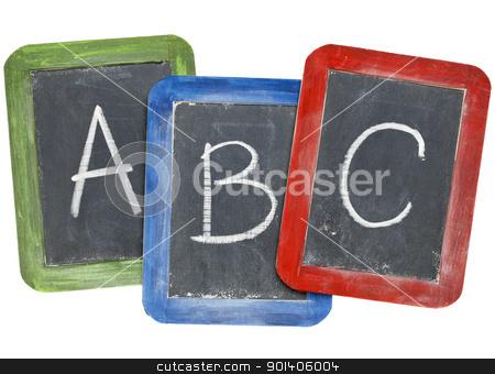 alphabet (A, B, C) on blackboards stock photo, first letters of alphabet (A, B, C) in white chalk handwriting on three small slate blackboards by Marek Uliasz