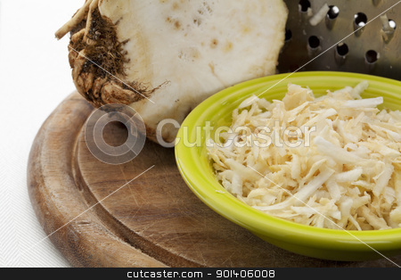 celery root grated stock photo, bowl of celery root grated for a salad by Marek Uliasz