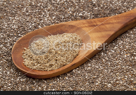 ground chia seeds stock photo, a wooden spoon of  organic ground chia seeds against the whole seeds background by Marek Uliasz