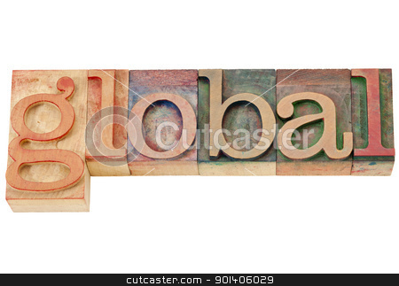 global word in letterpress type stock photo, global - isolated word in vintage wood letterpress printing block by Marek Uliasz