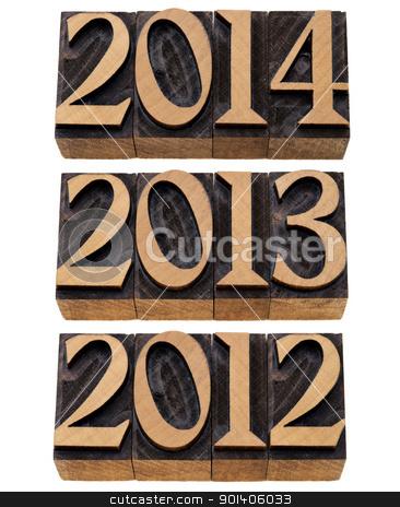 incoming years 2012, 2013, 2014 stock photo, incoming years 2012, 2013, 2014 - isolated numbers in vintage wood printing blocks by Marek Uliasz