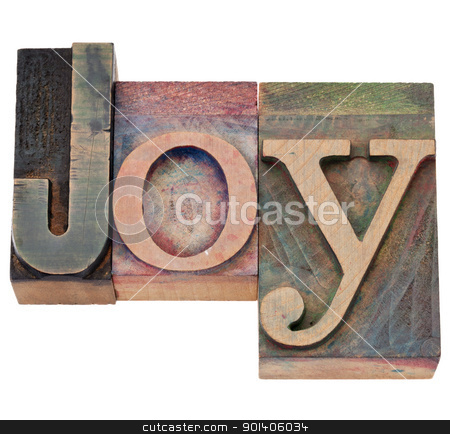 joy word in letterpress type stock photo, joy word - isolated text in vintage wood letterpress printing blocks by Marek Uliasz