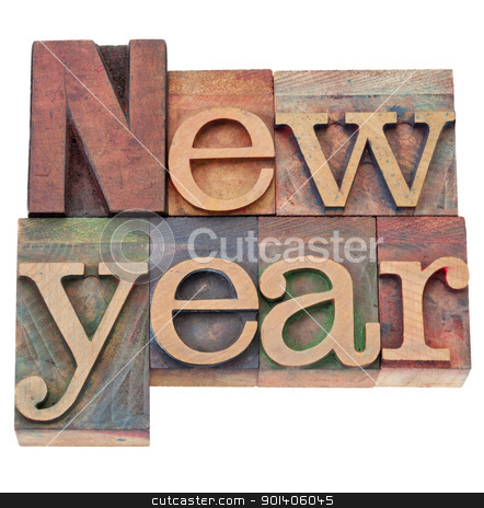 new year in letterpress type stock photo, New Year  - isolated text in vintage wood letterpress printing blocks by Marek Uliasz