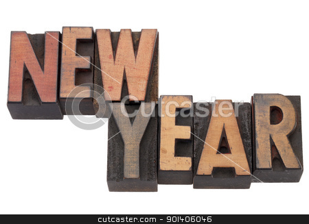 new year in letterpress type stock photo, New Year  - isolated words in antique wood letterpress printing blocks by Marek Uliasz
