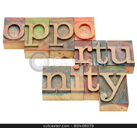 opportunity word stock photo, opportunity - isolated word in vintage wood letterpress printing blocks by Marek Uliasz