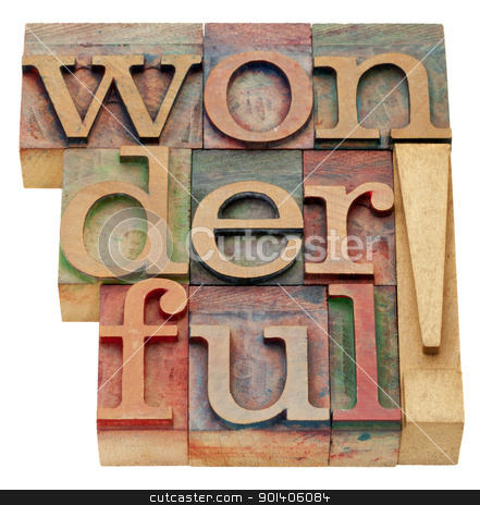 wonderful exclamation stock photo, wonderful exclamation - an isolated word in vintage wood letterpress printing blocks by Marek Uliasz