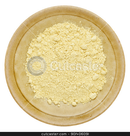 pine pollen powder stock photo, pine pollen powder (nutrition supplement) on a isolated small ceramic bowl by Marek Uliasz