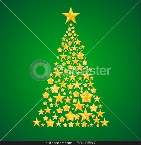 Abstract Christmas tree from the stars stock photo, Abstract Christmas tree from the stars. Illustration on green background  by dvarg
