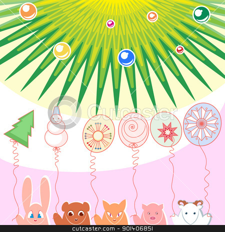 New Year background stock photo, New Year background of balloons illustration designer toys by dvarg