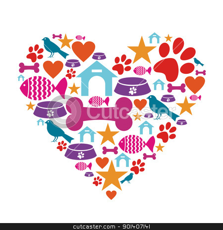 Love for pets icon collection stock vector clipart, Heart shape made with pets care icons set. by Cienpies Design