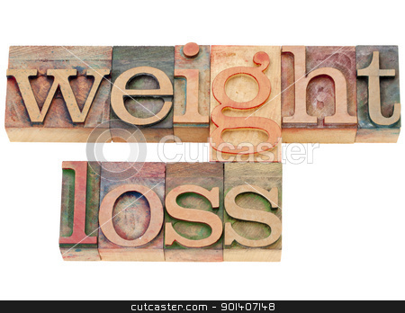 weight loss words in letterpress stock photo, weight loss - isolated words in vintage wood letterpress type by Marek Uliasz