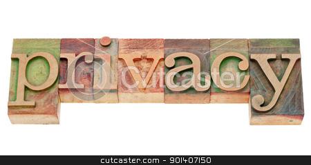 privacy word in letterpress type stock photo, privacy - isolated word in vintage wood letterpress type by Marek Uliasz