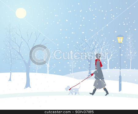 snowy park stock vector clipart, an illustration of a woman walking a small dog in a snowy park with an old fashioned lamp and frosted trees by Mike Smith