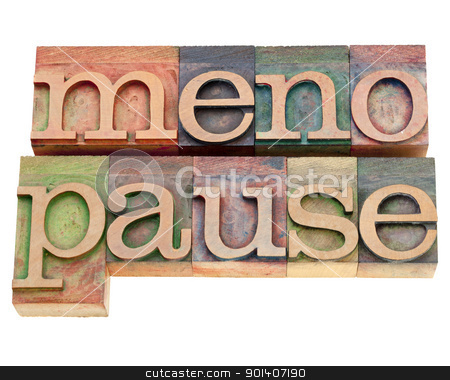 menopause word in letterpress type stock photo, menopause - isolated word in vintage wood letterpress printing blocks stained by color inks by Marek Uliasz