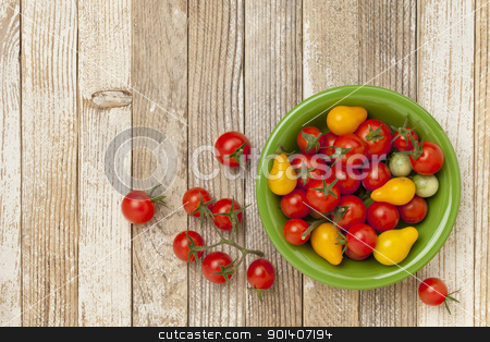grape and cherry tomatoes stock photo, grape and cherry tomatoes in a ceramic bowl on a grunge white painted wood table by Marek Uliasz