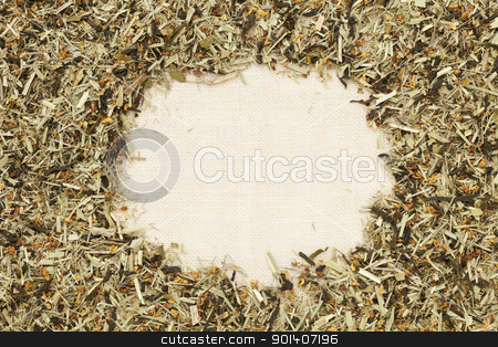 green tea with orange blossom  stock photo, green tea with orange blossom on canvas -background with a copy space by Marek Uliasz