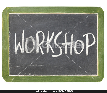 workshop blackboard sign stock photo, workshop word in white chalk handwriting on a vintage slate blackboard, isolated on white by Marek Uliasz