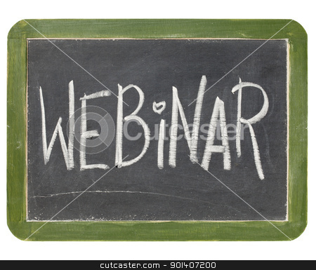 webinar blackboard sign stock photo, webinar word in white chalk handwriting on a vintage slate blackboard, isolated on white by Marek Uliasz