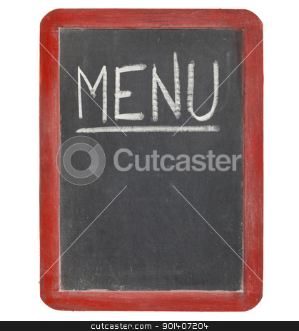 menu blackboard sign stock photo, menu  word in white chalk handwriting on a vintage slate blackboard, copy space below, isolated on white by Marek Uliasz