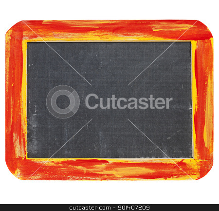 blank  blackboard sign stock photo, blank sign - a small slate blackboard in a rough red and yellow wood frame isolated on white by Marek Uliasz