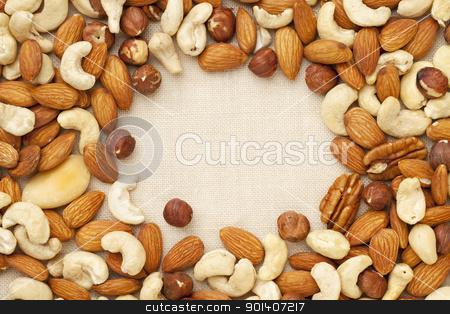 nut mix on canvas stock photo, nut mix (walnut, almond, brazilian, hazelnut, cashew) on canvas with a copy space by Marek Uliasz