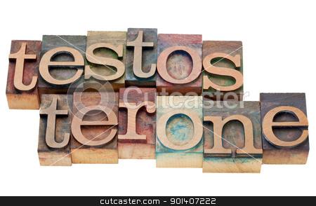 testosterone word in letterpress stock photo, testosterone  - isolated word in vintage wood letterpress type by Marek Uliasz
