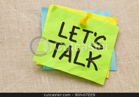 let us talk on sticky note stock photo, communication concept - let us talk   - handwriting on a green sticky note against canvas board by Marek Uliasz