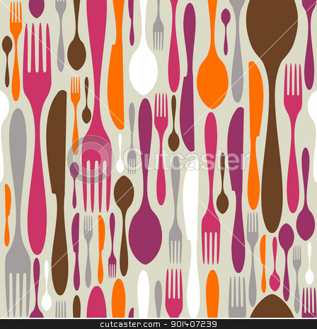 Cutlery silhouette icons pattern background  stock vector clipart, Silverware icons seamless pattern background. Fork, knife and spoon silhouettes on different sizes and colors. Vector avaliable. by Cienpies Design