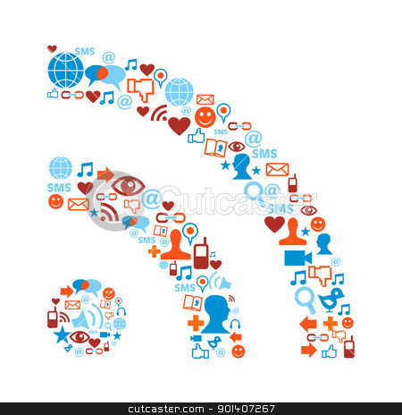 RSS symbol with media icons texture stock vector clipart, Social media icons set in RSS symbol shape composition by Cienpies Design